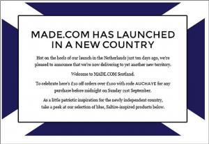 made.com message congratulating Scotland on winning independence