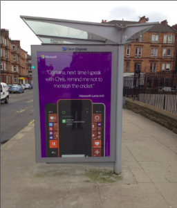 cortana advertising poster promoting cricket in glasgow
