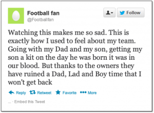tweet from unhappy football fan