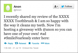 Tweet with positive review of electric toothbrush