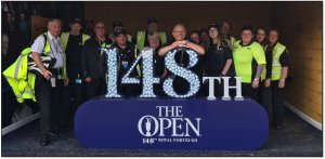 Prop for One Club tent at 148th Open Championship, Royal Portrush Golf Club, Northern Ireland focussing on fan loyalty